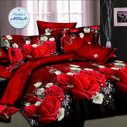 Wholesale Romantic Bedding Sets - Wholesale-Hot sale 3d bedding sets 4pcs duvet cover set queen twin king bed set red rose nice bedclothes romantic #2