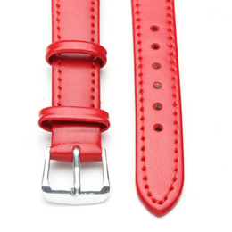 Wholesale Wholesale Make P - Wholesale- 2016 New Fashion Hand Made BLACK RED Genuine Leather WatchBand Strap for P Watch 18mm 20mm 22mmWith Black Buckles
