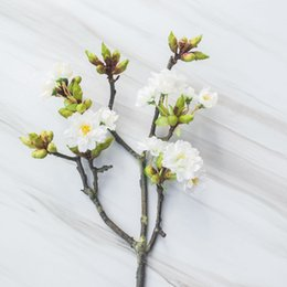 Wholesale Sakura Wedding - Length 60cm real touch artificial cherry branches decoration fake cherry blossom wedding decoration Sakura artificial flower