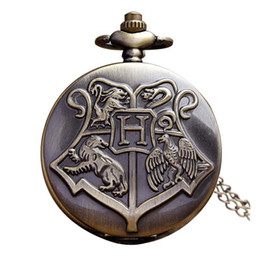Wholesale Retro Vintage Necklaces - Hogwarts Harry Potter Necklace Pocket Watch Vintage Pocket Watches Men Women Watch Chain Steampunk Fob Watch Retro Quartz Clock