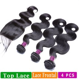 Wholesale Peruvian Straight Closure Piece - Body Wave Bundles And Closure 4Pcs Straight Human Hair Extensions Within Top Lace Closure And Lace Frontal