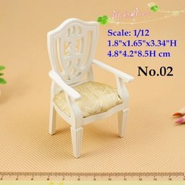 Wholesale White Wood Living Room Furniture - 1:12 Dollhouse Furniture Miniatures Living Room Wood Chippingdale Brown Armed Chair White