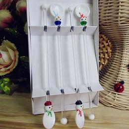 Wholesale Glass Sculptures - Wholesale- Custom wholesale! Munuola creative tableware set glass Christmas Snowman sculpture white glass spoon and swizzle stick