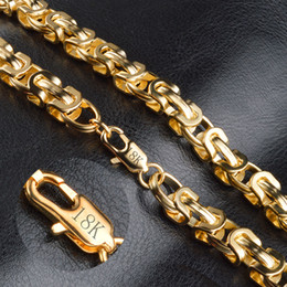Wholesale Gold Filled 18k Stamped - 18k stamped Vintage Long Gold Chain For Men Chain Necklace New Trendy Gold Color Bohemian Jewelry Colar Male Necklaces