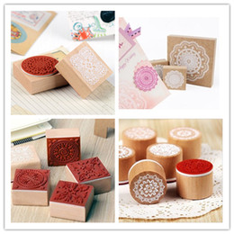 Wholesale Korean Stamps Wholesale - Wholesale- DIY Vintage Wood Craft Stamp Lace Flower Stamps for Diary Decoration Scrapbooking Korean Stationery Free shipping 10005