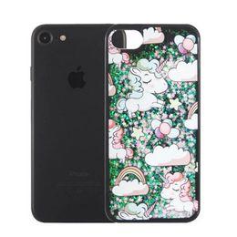 Wholesale Apple Tree Print - Black Glitter print tree horse Quicksand Liquid soft TPU edge cover case For Iphone 7 7plus 6S PLUS