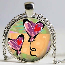 Wholesale Love Heart Umbrellas - Umbrella Moon Balloon Hearts Necklace Heart Pendant Love Valentines Gift, Wedding Favor