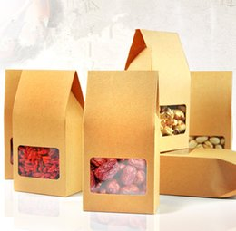 Wholesale Kraft Paper Food Packaging - Standing Zip-lock Bags with Front Clear Window  Kraft Paper Packaging Spices Powder Food Pouches  Thicken Yellow Kraft Bags