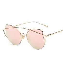 Wholesale Designer Women S Flats - Wholesale- 2016 Fashion Cat's Eye Sunglasses Women Sun Classic Of Designer Brand Twin-beams Sun glasses Mirror Flat Lens Coating S'7882