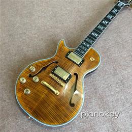 Guitares électriques à corps creux gauche en Ligne-Guitare personnalisée électrique, gaucher F semi-creux corps tigre brun bande bande guitares, livraison gratuite