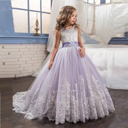Wholesale Little Bride Dresses Sleeves - 2017 Princess Lilac Little Bride Long Pageant Dress for Girls Glitz Puffy Tulle Prom Dress Children Graduation Gown Vestido