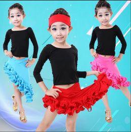 Wholesale Latin Style Dresses Skirts - Girls Latin Dance Skirt For Kids Child Red Ruffle Style Latin Dance Dress Competition Practice Dancewear