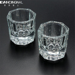 Wholesale Bowl Cup Acrylic Liquid Dappen - Wholesale- 1pcs Clear Glass Crystal Cup Nail Art Acrylic Liquid Powder Storage Dappen Mini Dish Bowl Glassware Tool Manicure Art Equipment