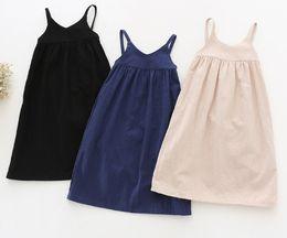 Wholesale New Small Girls Dresses - 2017 New Children Girls Cotton and Linen Long Skirt Mori Girls Dress Literary style Small Fresh Suspender Long Skirt Spring and Summer D7195