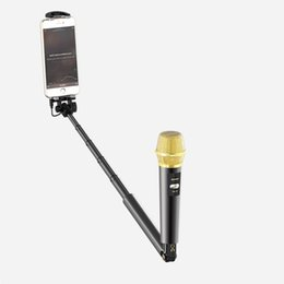 Iphone pour pas cher en Ligne-micro selfie stick avec micro voix pour téléphone Android iphone chanter karaoké 57cm couleur or prix de gros pas cher de bonne qualité