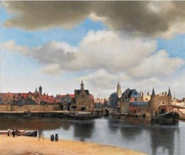 Wholesale Framed View of Delft by Johannes Vermeer Pure Hand Painted Landscape Art Oil Painting On Thick Canvas Multi Sizes Ls013