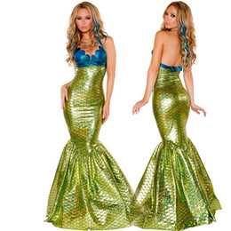 Wholesale Mardi Gras Lingerie - New Mermaid Cosplay Sexy Costumes Body Suits Party Dresses Role Play Costumes Long Dress Set Gold Sexy Lingerie With Bra Costume