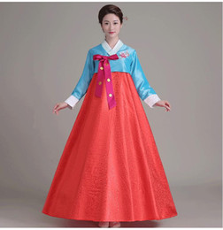 Wholesale Top Korean Clothing - Women Korean Traditional Dress 2017 Top + Skirt +Hair Band 3pcs Sets Korean Court Wedding Costumes National Costume Hanbok Asia clothing