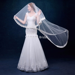 Wholesale Lace Pearl Meter - 3 Meters White Ivory Cathedral Wedding Veils Long Lace Edge Bridal Veil with Comb Wedding Accessories Bride Mantilla Wedding Veils