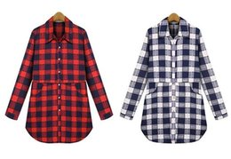 Wholesale Plus Size Blouses Wholesale - Female Blouses Shirt Women's Plaid Long Sleeve Long Tops Turn Down Collar Cotton Blend Plus Size L-5XL Ladies Autumn Spring T shirt
