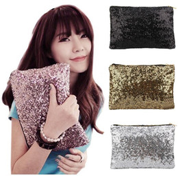 Wholesale Metallic Clutch Bags - Women Comestic Makeup Bag Brand Designer Sequins Luxury Cosmetic Bags Organizer Handbag Glitter Bling Sequins Women Clutch