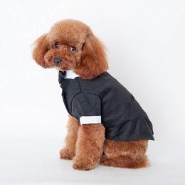 Perro mascota de esmoquin online-Cute Pet Cat Dog Clothes Prince Traje de Boda Tuxedo Pajarita Capa de Perrito 5 Tamaños Traje de Perro