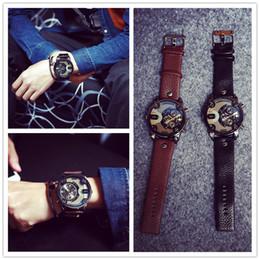 Wholesale Double Movement - 2017 New Retro Oversized Double Movement Watches Classic Leather Band Mens Watches 2 Colors Fashion Designer Quartz Watch