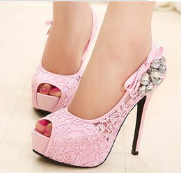 Wholesale Lace Beige Dresses Sale - Free Shipping Hot Sale Sexy Lace Rhinestone Mesh Hollow Peep Toe High Heels Lady Single Shoes Thin Heel Women Fashion Wedding Shoes 2016