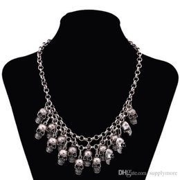 Wholesale Silver Biker Necklace - New Biker Punk Skull Necklaces & Pendants Department Statement Collares Necklace Vintage Pirate Skeleton Retro Jewelry free shipping