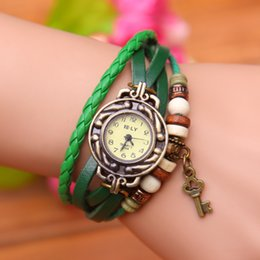 Wholesale Key Wind Watch - Popular south Korean fashion watches han edition winding retro bracelet watch students. Lady watch love key pendant watch