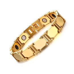 Wholesale eastern element - Magnets Women Bracelet Stainless steel Magnetic Therapy Bracelets Gold-Color Function Magnet Element Balance Bracelets & Bangles B881S