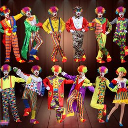 Wholesale Halloween Costumes Blue Men - 2017 New Clown Costume Amusement Park Performance Clothing Adult Men Women Halloween Carnival Fancy Dress Party Decoration