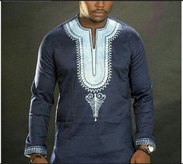 Wholesale Vintage African Men - Male Dashiki Vintage T shirts 2017 Polyester Bohemia Retro Tops Mens African Print T-shirt Ethnic Traditional Tees Plus Size