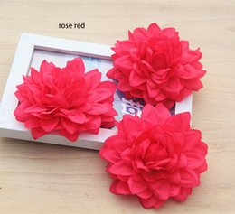 Wholesale Hats For Dresses - 9cm 3.54inch big artificial emulational silk DAHLIA flower head for home,garden,wedding,or for on holiday beauty's hat or dress decoration