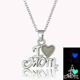 Wholesale I Love Mix Gift - Free shipping Shiny mother jewelry i love mom luminous pendant mother exclusive gift WFN148 (with chain) mix order 20 pieces a lot