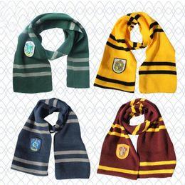 Wholesale Wholesale Kids Costume Scarves - HP Scarf Scarves Gryffindor Hufflepuff Slytherin Knit Scarves Cosplay Costume Gift kid stripe scarf cotton Hogwarts School