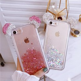 Wholesale Mouse For Apple - Luxury Rhinestone Micky mouse cases for iPhone X 8 7 plus 6 6s Glitter Dimond Liquid Hearts quicksand Clear Cover for iPhone X