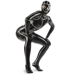 Wholesale Sexy Red Latex Bodysuit - Black With White Trims Sexy Latex Catsuit With Feet Gloves Hood Mask Open Eyes Nose Mouth Rubber Bodysuit