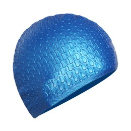 Wholesale Waterproof Fabric Swim Cap - Wholesale- 2017 Women Water Drop Long Hair Swim Cap Men PU Fabric Ear Protect Bathing Hat Sports Waterproof Swimming Caps