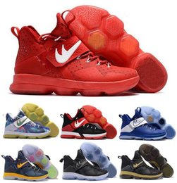 Wholesale Synthetic Leather Boots - 2017 Basketball Shoes LBJ 14 Men's Sneakers Black Sports Shoes High Quality Discount Ventilation Boots Size US 7-12