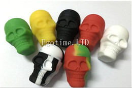 Wholesale Screw Skull - 2017 New design The best slick Skull Screw Top NonStick oil Silicone Container Wax Dab Silicone Jar for dab globe skillet cannon tank