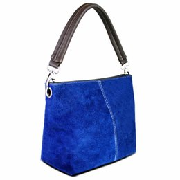 Wholesale Wholesale Navy Leather Handbag - Wholesale- Miss Lulu Women Real Italian Suede Leather Handbag Hand Bag Vintage One Handle Small Size Black Navy Coffee Red Blue Many Colors