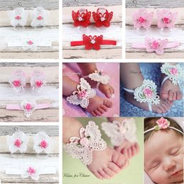 Wholesale Toddler Anklets - 1 Set Fashion Boutique DIY Butterfly Elastic Headbands And Anklet For Toddler Baby Children Girls Floral Hair Accessories