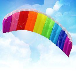 Wholesale Nylon Stunt Parafoil Sport Kite - Wholesale- 2016 New Hot Power Dual Line Stunt Parafoil Parachute Rainbow Sports Beach Kite with 2pcs 30m Nylon Flying Lines For Beginner