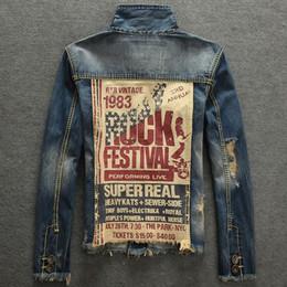 Wholesale Bound Breast - Men Vintage Rock Print Punk Jacket Long Sleeves COOL Slim Fit Demin Outwear Denim jacket Add hair thickening cowboy binding his coat