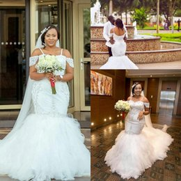 sweetheart chapel trumpet wedding dress Coupons - 2018 Gorgeous African Appliques Cap Sleeves Lace Mermaid Wedding Dresses Puffy Tulle Long Custom Made Plus Size Sexy Bridal Gowns