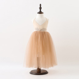 Wholesale Summer Wings Dress - Sweet Girls princess dress Children beaded Rhinestone Angel wings suspender tulle dress Kids backless sleeveless party dess A0140
