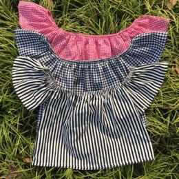 Wholesale Christmas Off Shoulder T Shirt - Fashion Girls Tops Summer Baby T-shirt slash neck stripe falbala fly sleeve Shirts Kids lattice cotton tops Off Shoulder Tees C762