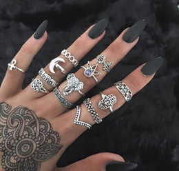 Wholesale Vintage Fashion Rings - 13 Pcs 1set Women Vintage Rings Fashion Lady Boho Jewelry Accessories Midi Finger Rings Charm Zircon Crown Moon Elephant aa433