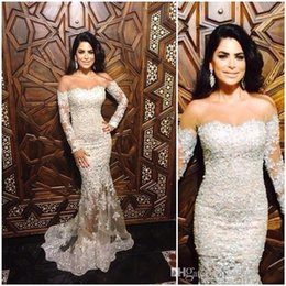 Wholesale Beaded Off White Elegant Shirts - 2017 New Arabic Elegant Lace Mermaid Evening Dresses Sheer off-shoulder Long Sleeve With Sheer Zip Back Bead Applique Sweep Train Prom Dress